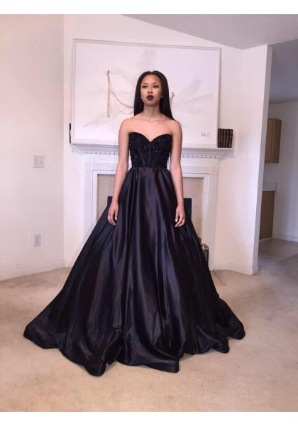8cc57606438ab Formal Dresses Prom Dresses Black Sweetheart Brush Train Satin Ball Gown  Prom Evening Dress