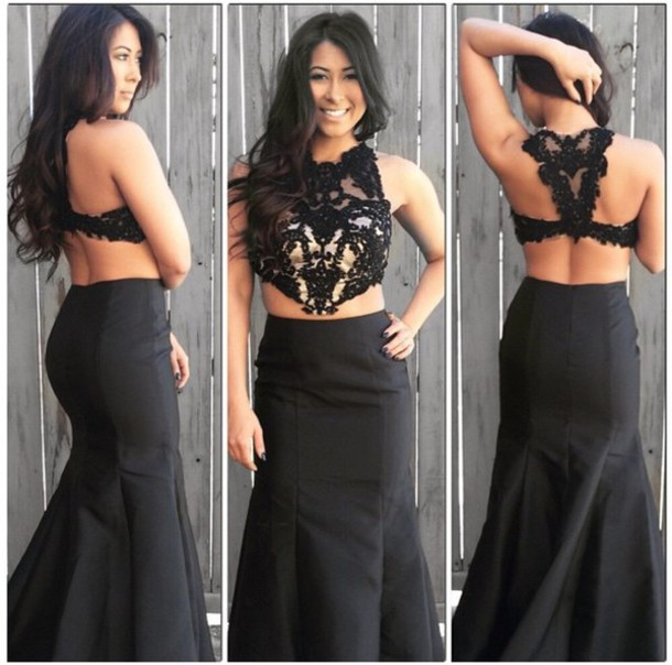 d6652cd4cac1 Formal Dresses Prom Dress Two Piece Prom Dress, Sexy Prom Dress, Black Prom  Dress