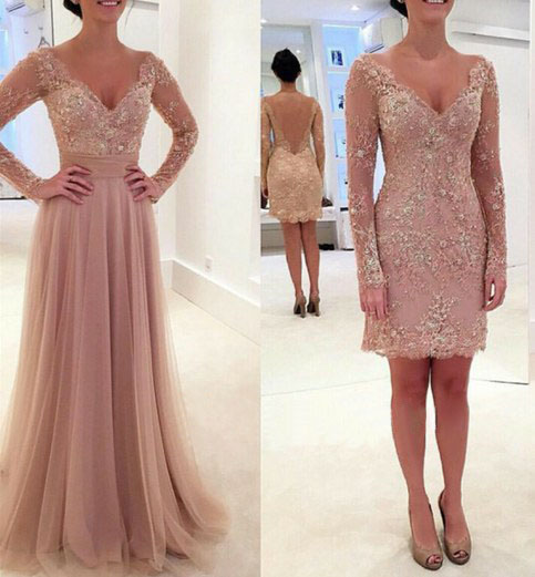 6062c09610 Formal Dresses Prom Dress v neck champagne long sleeve lace 2 way wearing  two piece prom dress