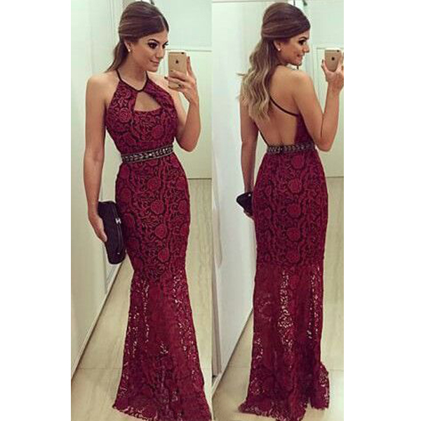 b2f8ac86af1 Burgundy Maroon Scarlet Formal Dress Prom Dress halter sheath column prom  dress