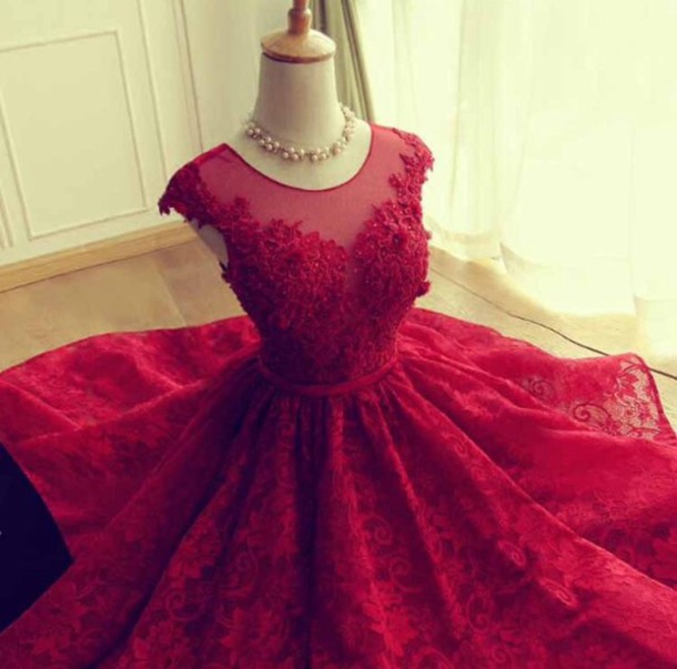 Burgundy Maroon Scarlet Formal Dress Prom Dress Ball Gown Formal ...