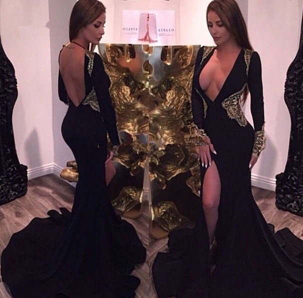 eb5f66e0d4a3 2016 Prom Dress Formal Dress Free Shipping Sexy Slit Gold Lace Black Prom  Dresses Deep V-neck Party Dress