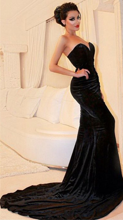 e70888604e2a Evening dresses formal dresses Sexy Sweetheart Mermaid Black Velvet Prom  Dresses 2016