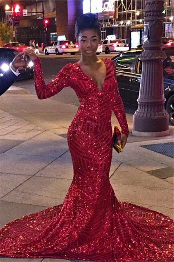 2016 Sequins Mermaid Prom Dresses Deep V Neck Long Sleeves Red Shiny