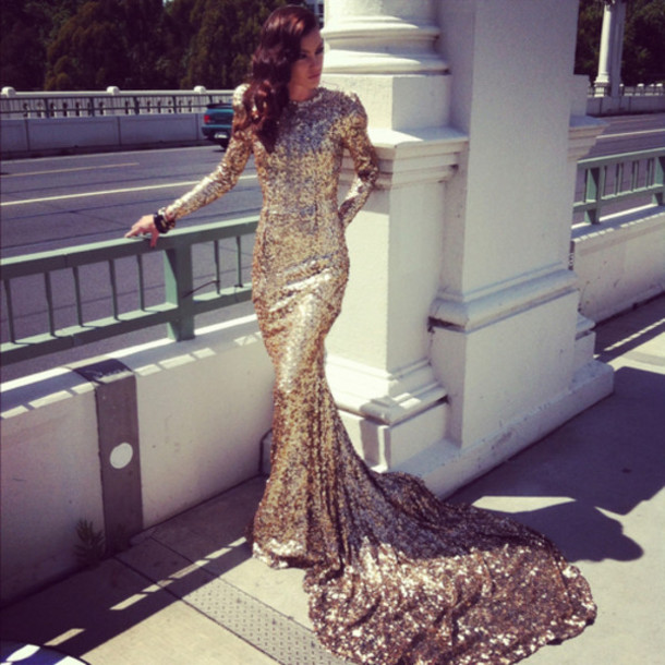 2016 New Arrival Mermaid High Collar Chapel Train Gold Sequined Prom