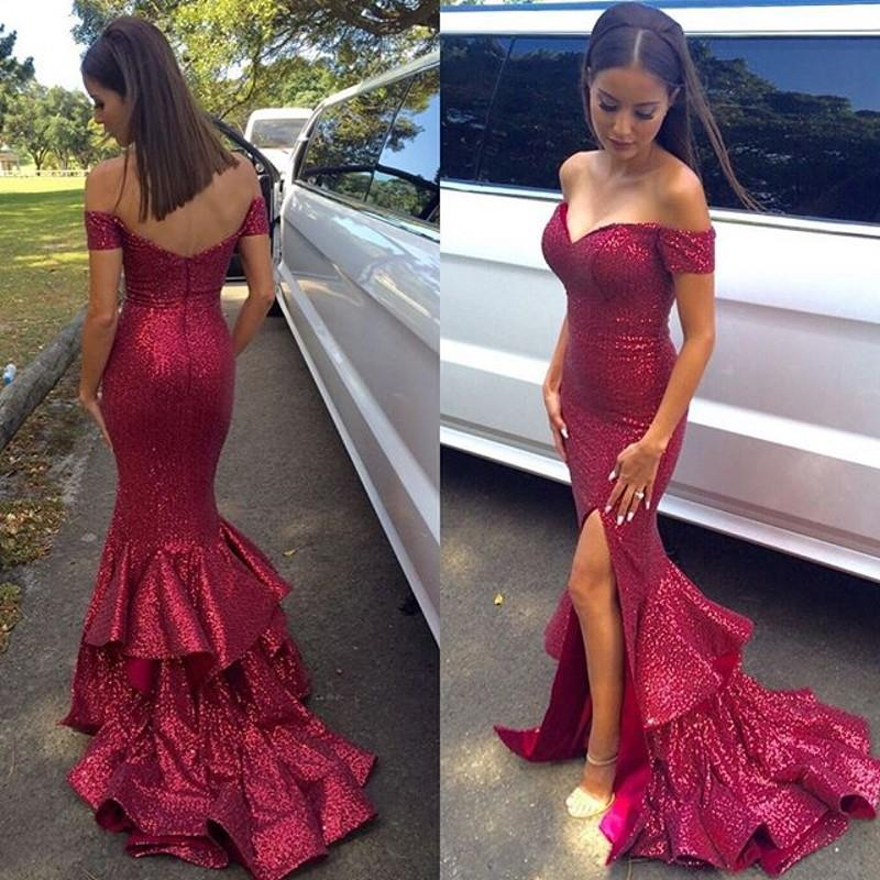 Prom Dress Formal Dress Sequin Burgundy Mermaid High Slit Sweep ...