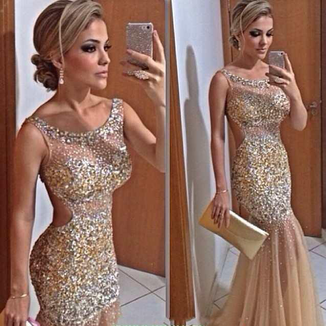 b479cd4598292 Prom Dress Formal Dress luxury sequin beading mermaid style trumpet  illusion evening dress