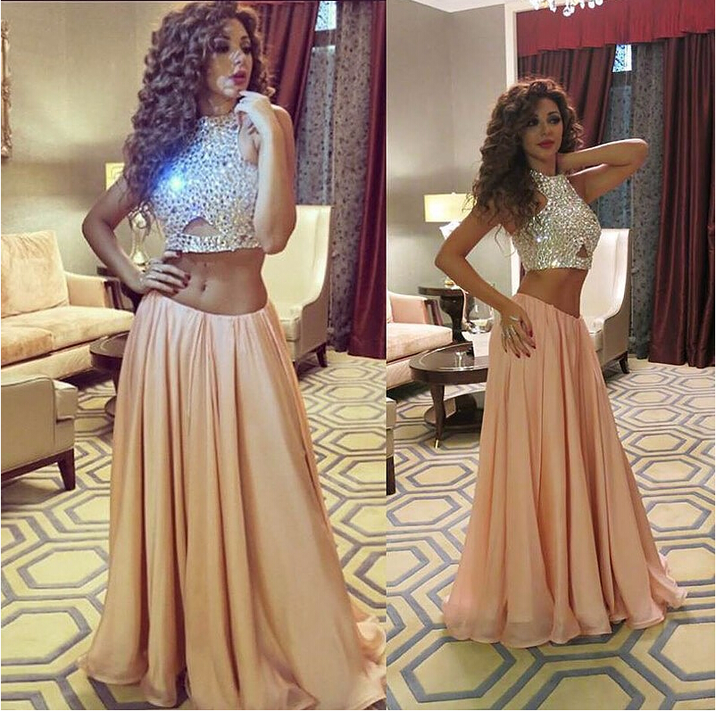 Charming Champagne Two Pieces Long Prom Dresses,Chiffon Prom Dress, Handmade Prom Gowns champagne crop top sequin cut out evening dresses formal dress
