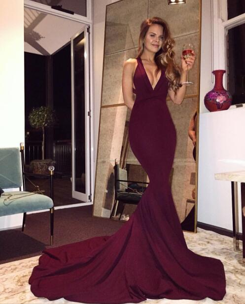 3cb0378aa Merlot V Neck Sheath Backless Burgundy Sexy velvet Prom Dress Long Evening  Dress With Sweep Train Formal Evening Dress