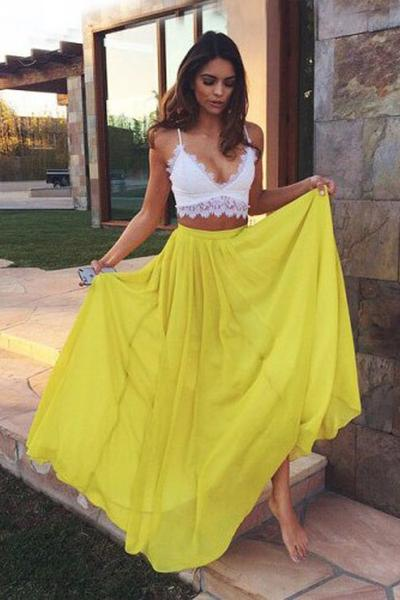 833a3181595 Two Piece Sweetheart Yellow Chiffon Sexy Unique Lace Prom Dresses Evening  Dress 2017