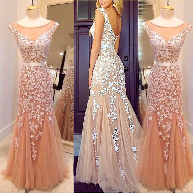 a7f01ce11f8 Champagne Backless Lace Tulle Mermaid Appliques Formal Prom Dress on ...