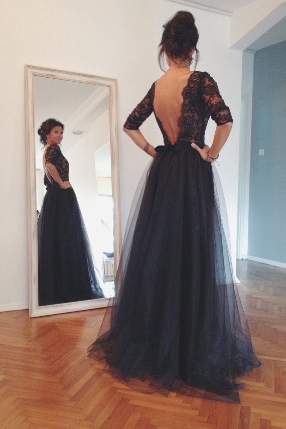 0ae1ffe0690 Long Sleeve Navy Lace And Tulle Prom Dresses