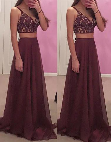 62f7aae8d79 cheap prom dresses 2017 crop top Maroon Chiffon two pieces lace long prom  dress