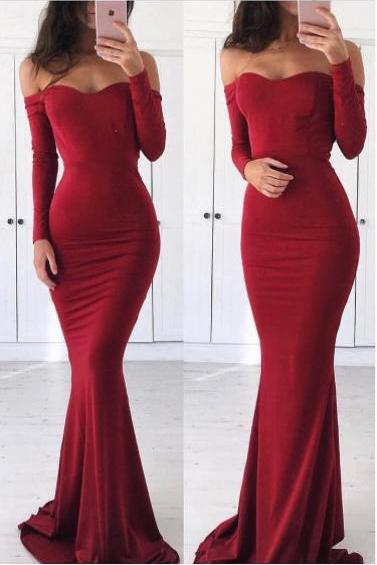Cheap Prom Dresses 2017 Sexy Off Shoulder Prom Dress,Mermaid Long Sleeves Evening Dress,Sexy Mermaid Red Graduation Dress
