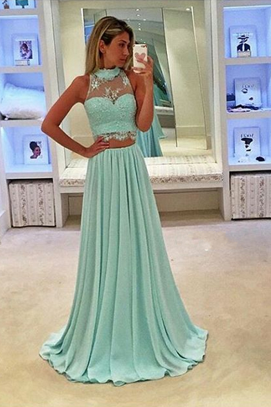 Cheap Prom Dresses 2017 Green Two piece Prom Dress,Sexy Lace Evening Dress,Halter Neckline 2 Piece Prom Gown