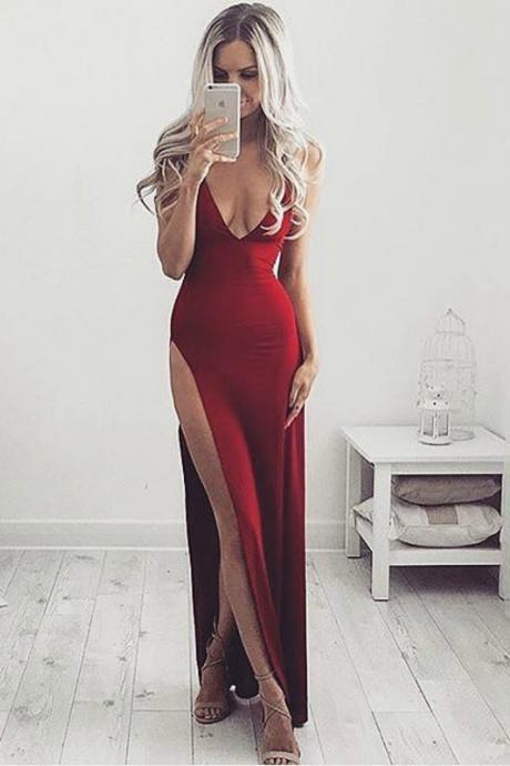 Cheap Prom Dresses 2017 Wine Red Evening Dress,Sexy Slit Prom Dress,Sheath Party Dress,Open Back Wine Red Graduation Dress