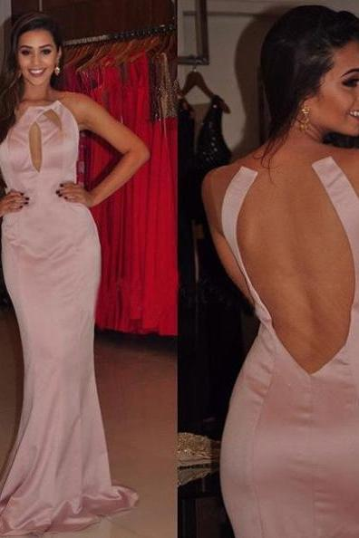 Cheap Prom Dresses 2017 Sexy Round Neck Sheer Back Satin Prom Dresses 2017