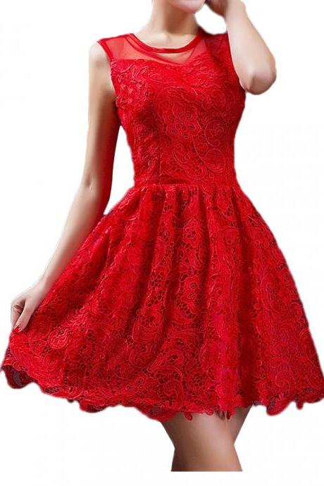 Cheap homecoming dresses 2017 Red lace a-line party dresses short prom dresses sleeveless homecoming dresses custom