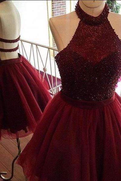 Cheap homecoming dresses 2017 Party Dress, Burgundy homecoming dress,a line homecoming dress,halter party dresses,beading short prom dress,women homecoming dress