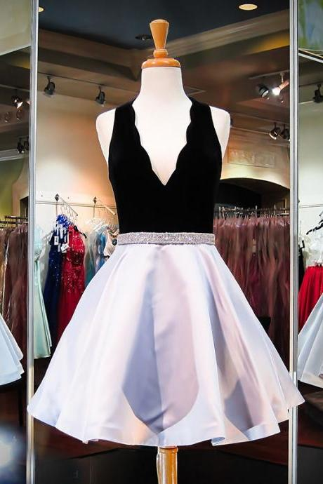 Cheap homecoming dresses 2017 Homecoming Dress, Silver Prom Dresses,Short Prom Dresses, 2017 Prom Dresses,Short Homecoming Dress,Prom Dress with Beadings,Prom Gowns, Black Velour Silver Satin Prom Dress