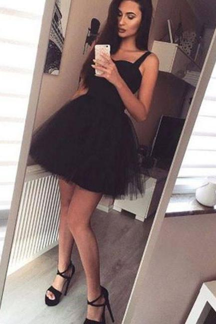 Cheap homecoming dresses 2017 Stylish A-Line Spaghetti Straps Black Tulle Short Homecoming Dress