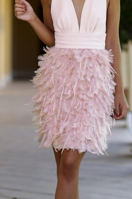 prom dress , short prom dress , pink prom dress , v neck prom dress , prom dress , feather prom dress , formal dress for prom , prom gown , prom dress for girls ,