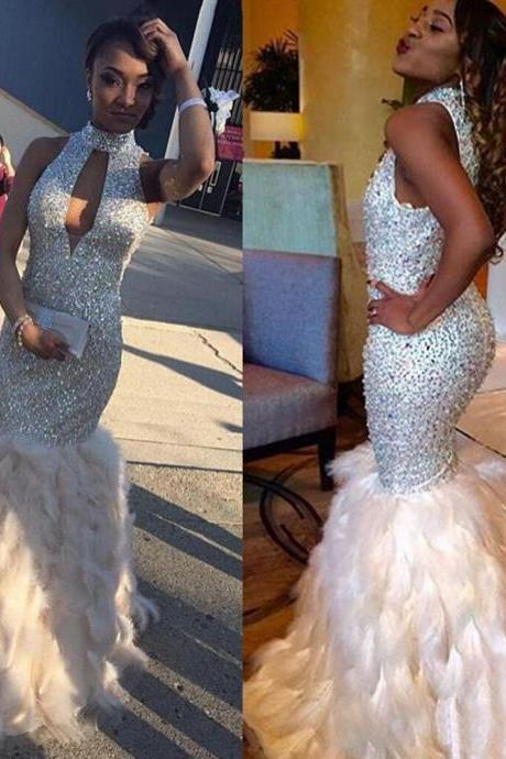 Prom Evening Dresses,Mermaid Prom Dresses,Prom Formal Evening Dresses,High Neck Feather Rhinestone Sequin Prom Dress 2017 Long Evening Gown
