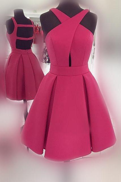 Short Rose Homecoming Dress Prom Dress, Short Prom Dress with Open Back