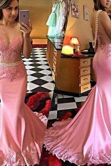 Pink Prom Dress,Mermaid Evening Dress,Fashion Prom Dress,Sexy Party Dress,Custom Made Evening Dress