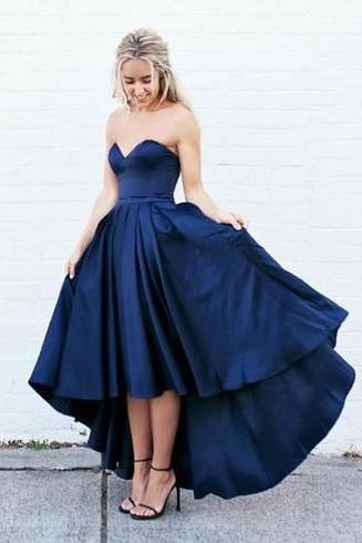 Cheap Homecoming Dresses 2017 Navy Prom Dress,Sexy Prom Dress,High Low Prom Gowns,Sweetheart Prom Dress,Party Dress,Dress For Teens,Formal Dress,Charming Evening Dress