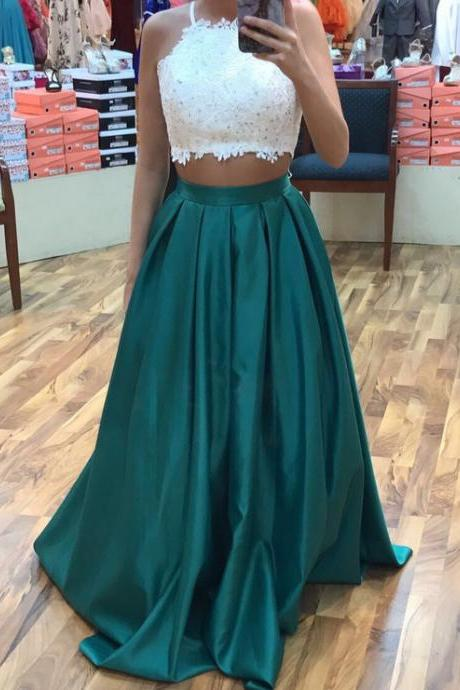 Two Pieces Long Satin Prom Dresses Lace Halter Neck Women Party Dresses