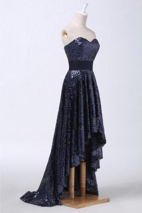 Brilliant High Low Dark Navy Sweetheart Prom Dresses,Sparkly Long Sequined Strapless Formal Gowns, Front Short And Long Back Party Dresses, Evening Dress 2017