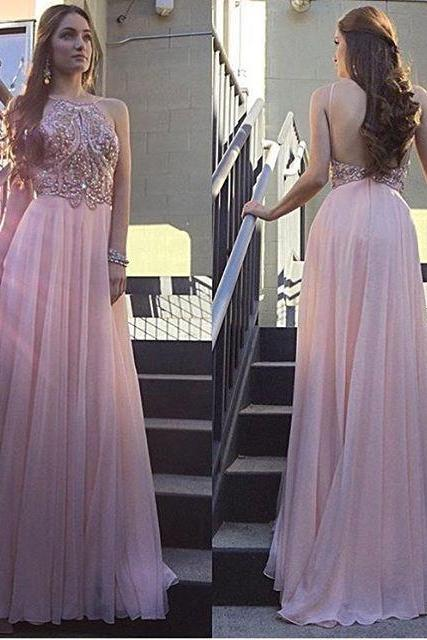 Cheap Prom Dresses 2017 Formal Sleeveless Halter Crystal Backless Floor-Length A-Line Cocktail Dress Sale