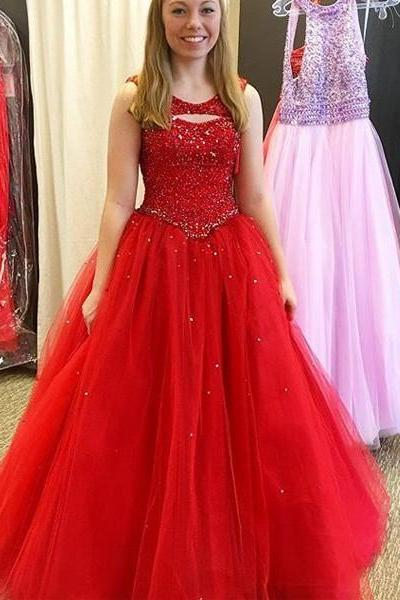 Cheap Prom Dresses 2017 Formal Sleeveless Round Beading Floor-Length Ball Gown Cocktail Dress Outlet