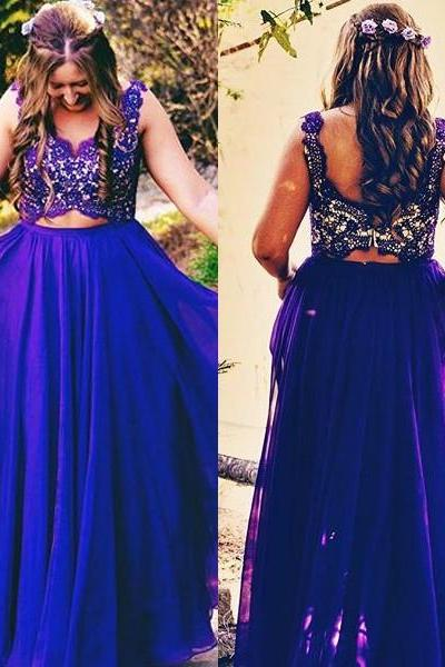 Cheap Prom Dresses 2017 Formal Sleeveless Spaghetti Straps purple two piece Lace Zipper Floor-Length A-Line Cocktail Dress Customized