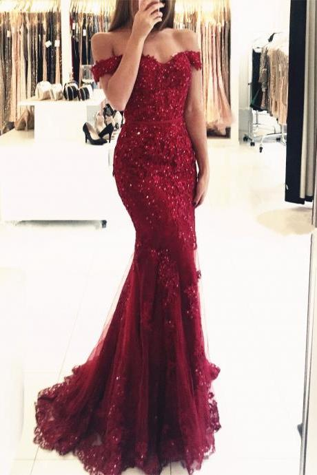 Rhinestone Evening Dress, Burgundy Evening Dress, Elegant Evening Dress, Short Sleeve Evening Dress, Mermaid Evening Dress, Lace Applique Evening Dress, Long Evening Dress, Cheap Evening Dress