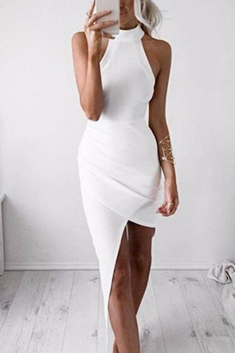 White Prom Dress,Halter Prom Dress,Fashion Prom Dress,Sexy Party Dress,Custom Made Evening Dress