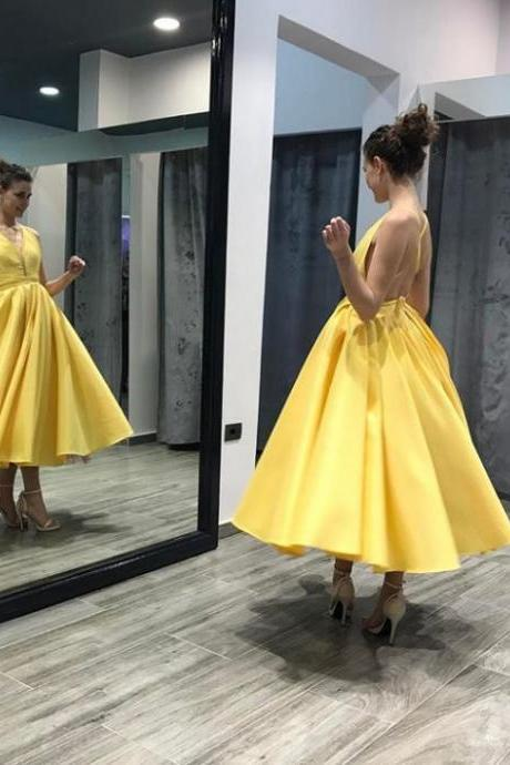 Cheap Homecoming Dresses 2017 Elegant A-Line V-Neck Criss Cross Yellow Satin Long Homecoming Dress With Pleats