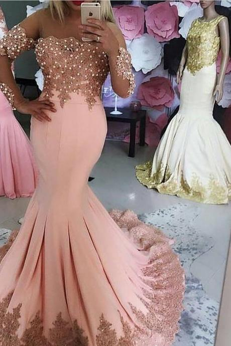 Kaftan Dubai Long Sleeve Mermaid Evening Dresses 2017 Formal Evening Gowns with Pearls Lace Appliques Pink Prom Party Dress Vestido Longo
