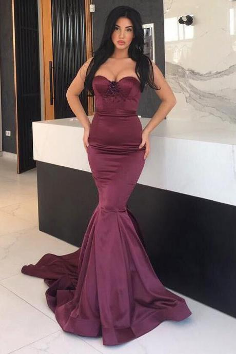 Burgundy Mermaid Evening Dress 2017 Elastic Satin Sexy Sweetheart Beaded Crystals African Evening Dresses Long Prom Dress Party Gowns