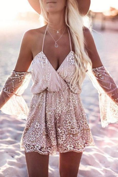 Sexy Off the Shoulder Lace and Chiffon Romper 2017