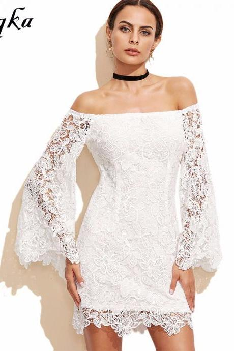 White Floral Lace Off-The-Shoulder Flare-Sleeved Short Dress