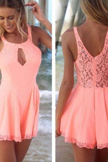Homecoming Dresses,Lace Evening Dress,Elegant Prom Dress,Short Homecoming Dress,pink Prom Dress,Elegant Graduation Dress,Lovely Prom Dress