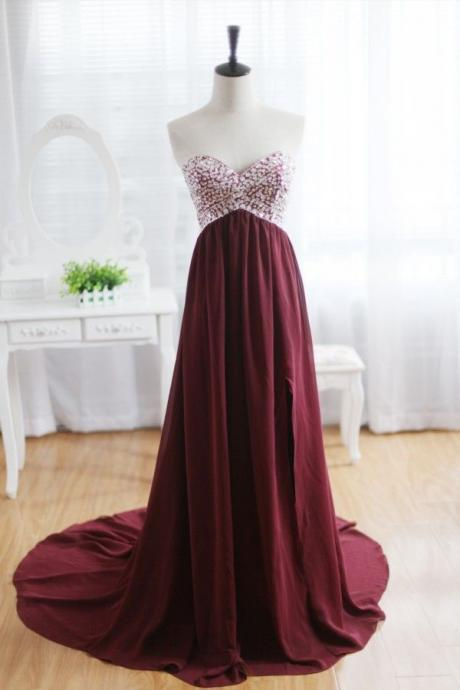 Cheap prom dresses 2017,Custom Made A Line Maroon Sweep Train Prom Dresses, Formal Dresses, Evening Dresses