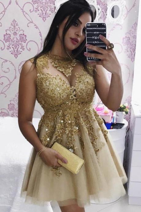 Cheap prom dresses 2017,Best Selling 2017 Gold Lace Short Prom Dresses High Neck Elegant Champagne Tulle Mini Party Dress Empire Pageant Gowns ,Gold Cocktail Dress