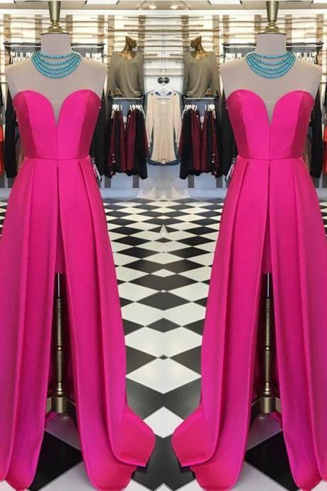Pink Satin Split Prom Dresses 2017 High Low Prom Gowns