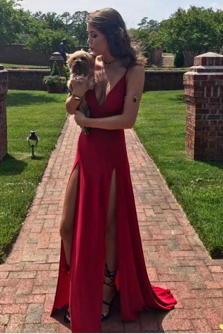 Cheap prom dresses 2017 ,simple Red Evening Dress 2017 Sexy Deep V neck Formal Gowns with 2 High Side Slit Sleeveless Count Train Long Evening Party Dresses robe de soiree Cheap Price