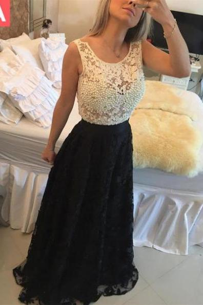 Cheap prom dresses 2017,Floor-length A-Line Sleeveless Lace Prom Dresses 2017