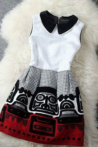 Vintage Style Doll Collar Sleeveless Party Dress