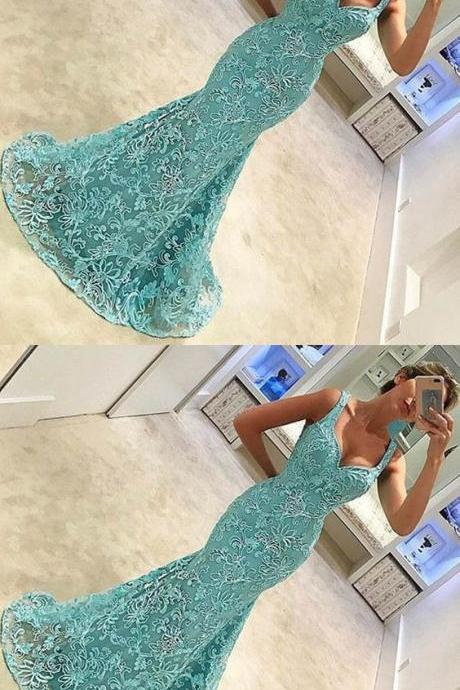 Cheap prom dresses 2017, lace mermaid prom dresses, mermaid prom dresses with straps, long prom dresses for women, women's prom dresses for prty, straps prom gowns